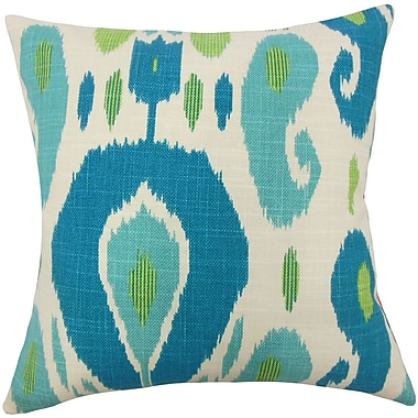 Bungalow Rose Broxburne Ikat Floor Pillow; Aqua/Green