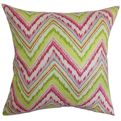 Bungalow Rose Brushwood Zigzag Floor Pillow; Pink/Green