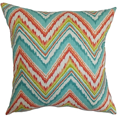 Bungalow Rose Brushwood Zigzag Floor Pillow; Teal/Red
