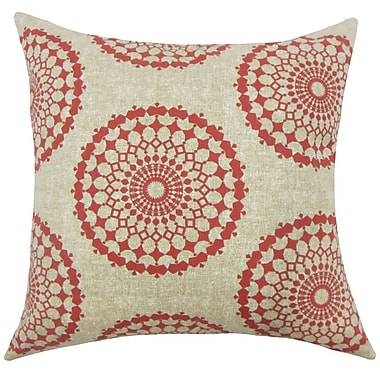 Bungalow Rose Bucknell Geometric Floor Pillow; Pomegranate