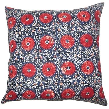 Bungalow Rose Castlethorpe Floral Floor Pillow; Red/Blue