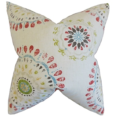 Bungalow Rose Catriona Geometric Floor Pillow; Coral
