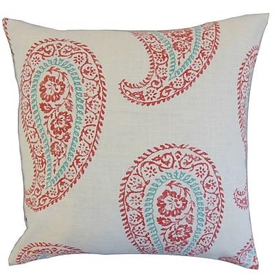 Bungalow Rose Celinda Geometric Floor Pillow; Coral