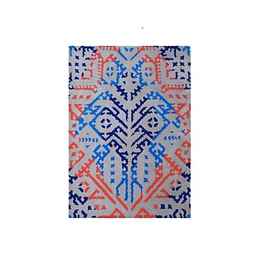 Bungalow Rose Brightlands Hand Tufted Wool Blue/Red Area Rug
