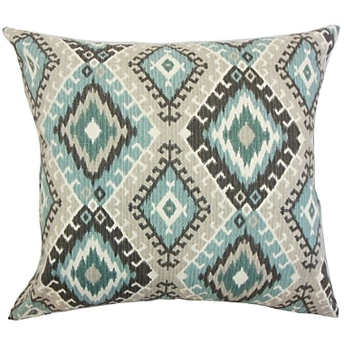 Bungalow Rose Brinsmead Ikat Cotton Throw Pillow Cover; Turquoise