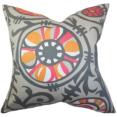 Bungalow Rose Brinsley Floral Floor Pillow; Gray