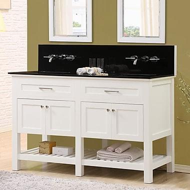 Latitude Run Fairfield 60'' Double Bathroom Vanity Set; Black Granite