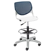 Latitude Run Panton Poly Adjustable Mid-Back Drafting Chair; Navy/ White