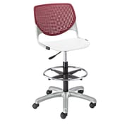 Latitude Run Panton Poly Adjustable Mid-Back Drafting Chair; Burgundy/White