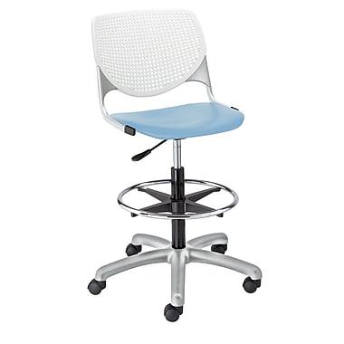 Latitude Run Panton Poly Adjustable Mid-Back Drafting Chair; White/Sky Blue