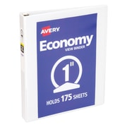 Avery Economy 1-Inch Round 3-Ring View Binder, White (5711)