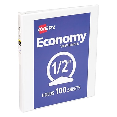 Avery Economy .5-inch Round 3-Ring View Binder, White (5706)