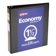 """1-1/2"""" Avery® Economy View Binders with Round Rings, Black"""
