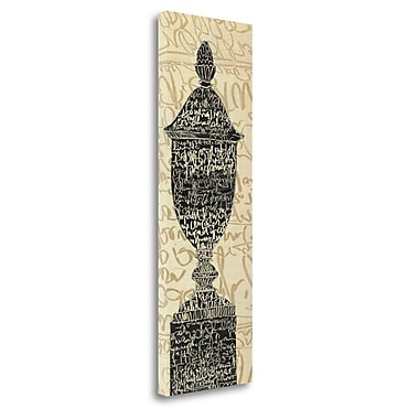 Tangletown Fine Art 'Scripted Urn II' Textual Art on Wrapped Canvas; 48'' H x 16'' W