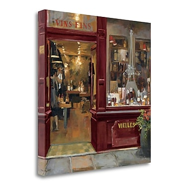 Tangletown Fine Art 'Parisian Wine Shop Red Crop' Print on Wrapped Canvas; 18'' H x 18'' W