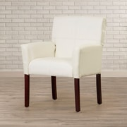 Varick Gallery Milliken Leather Executive Lounge Chair; White