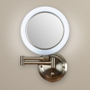 Varick Gallery Howell Dimmable Wall Mirror in Satin Nickel