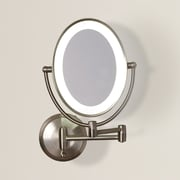 Varick Gallery Howell Cordless Dual LED Lighted Oval Wall Mount Mirror w/ 1X and 10X Magnification