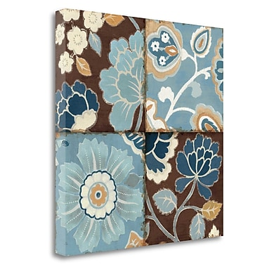 Tangletown Fine Art 'Blue Patchwork Motiff II' Graphic Art Print on Wrapped Canvas; 20'' H x 20'' W
