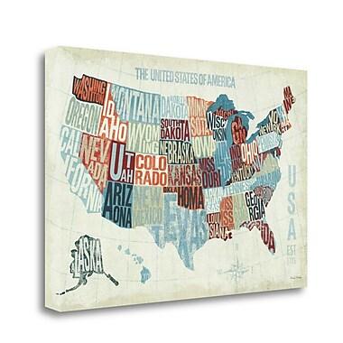 Tangletown Fine Art 'USA Modern Blue' Graphic Art Print on Wrapped Canvas; 16'' H x 24'' W