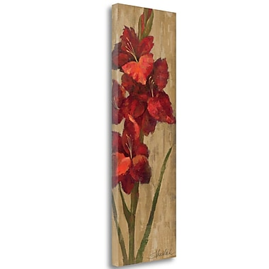 Tangletown Fine Art 'Vivid Red Gladiola on Gold' Print on Wrapped Canvas; 39'' H x 13'' W