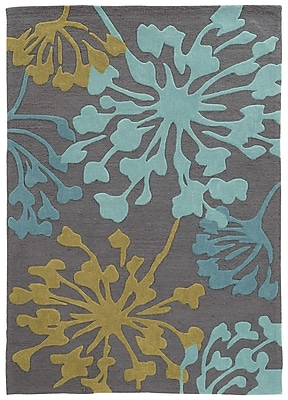 Varick Gallery West Wick Hand-Tufted Gray/Gold Area Rug; 5' x 7'