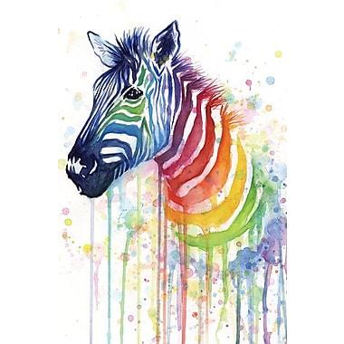 Varick Gallery Rainbow Zebra by Olga Shvartsur Print Painting on Wrapped Canvas