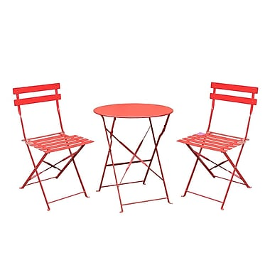 Varick Gallery Bales Outdoor 3 Piece Folding Bistro Set; Red