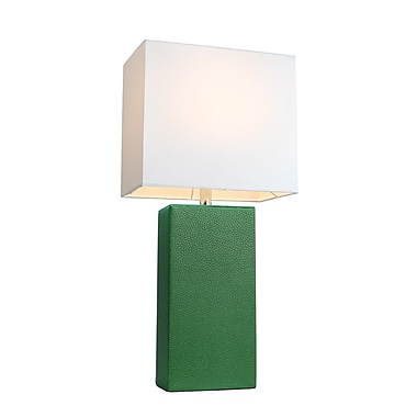 Varick Gallery Little Neck 21'' Table Lamp; Green