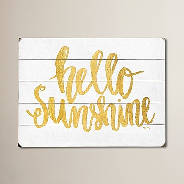 Varick Gallery Hello Sunshine Textual Art on Plaque Wall D cor; 14'' H x 20'' W x 0.75'' D