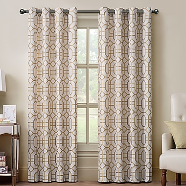 Varick Gallery East Drive Grommet Drape Single Curtain Panel; Gold