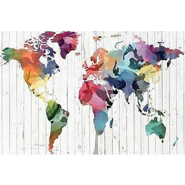 Varick Gallery Wood Watercolor World Map Graphic Art on Wrapped Canvas; 12'' H x 18'' W x 0.75'' D