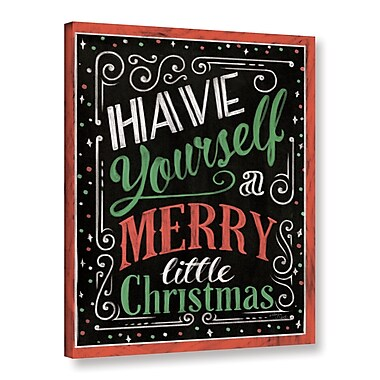 Varick Gallery Holiday Chalk Green Red Border Textual Art on Wrapped Canvas; 24'' H x 18'' W x 2'' D