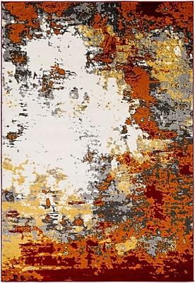 Varick Gallery Shuff Charcoal/Orange Area Rug; 5'3'' x 7'6''