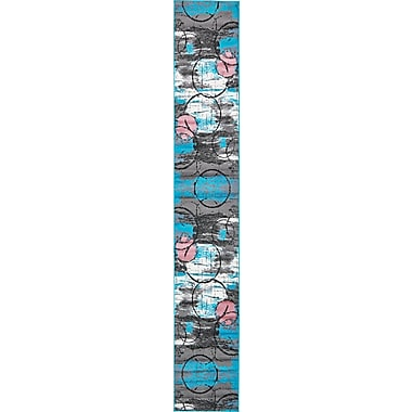 Varick Gallery Sidney Turquoise Area Rug; Runner 2' x 13'