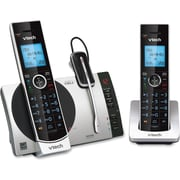 VTech Connect to Cell DS6771 3 DECT 6.0 Cordless Phone, Black, Silver (DS67713) by