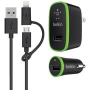 Belkin® Wall/Car Charging Kit with Lightning Adapter, Black, Micro USB (F8J171TT03-BLK)