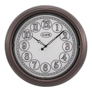 "La Crosse® Indoor/Outdoor 18"" x 2 1/2"" Brown Lighted Dial Wall Clock (403-3246BR)"