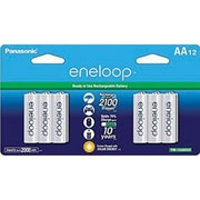Panasonic® eneloop® NiMH Pre-Charged Rechargeable Battery, AA, 12/Pack (BK-3MCCA12BA)