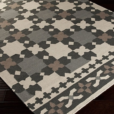 Varick Gallery Donley Black & Gray Geometric Area Rug; 2' x 3'