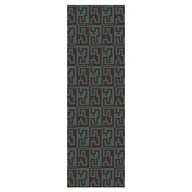 Varick Gallery Donley Brown/Malachite Blue Geometric Area Rug; Runner 2'6'' x 8'