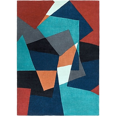 Varick Gallery Conroy Teal/Midnight Blue Rug; 5' x 8'
