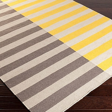 Varick Gallery Donley Gold/Gray Striped Area Rug; Runner 2'6'' x 8'