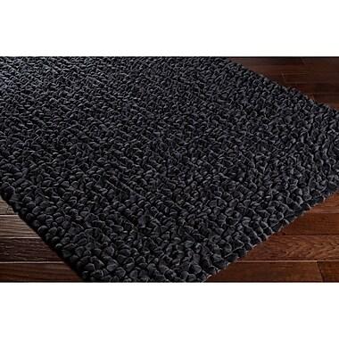 Varick Gallery Darwin Hand-Crafted Black Area Rug; 5' x 7'6''