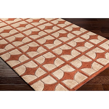 Varick Gallery Moultry Hand-Tufted Brown/Red Area Rug; 8' x 10'