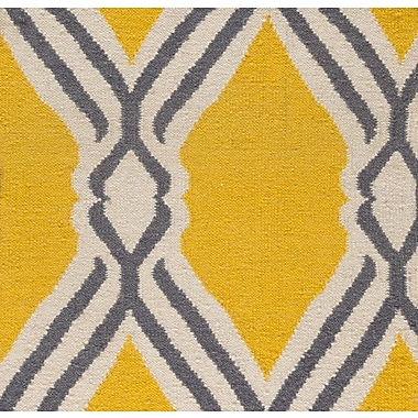 Varick Gallery Buttrey Hand-Woven Yellow/Neutral Area Rug; 8' x 10'