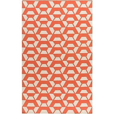 Varick Gallery Buttrey Hand-Woven Orange/Neutral Area Rug; 8' x 10'