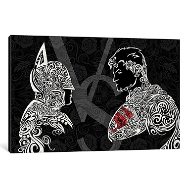 Varick Gallery The Showdown, Dark Night Vs Man of Carbon Steel Graphic Art on Canvas in Black