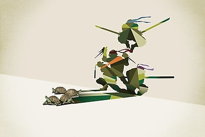 Varick Gallery Walking Shadow Turtles Graphic Art on Wrapped Canvas; 12'' H x 18'' W x 0.75'' D