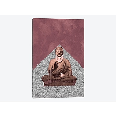 Varick Gallery Silver Buddha Graphic Art on Wrapped Canvas; 18'' H x 12'' W x 0.75'' D